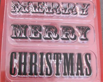 rubber stamps - MERRY merry CHRISTMAS - 3 stamps - clear polymer cling