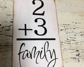 Flash Card Family Number Wood Sign