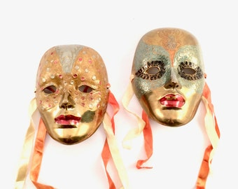 Pair of Solid brass Mardi gras Masks with Ribbons / Brass Masks wall hangings