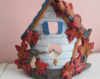 Mapleleaf birdhouse for carafe/votive candle, hand painted ceramics