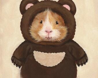 Guinea Pig in a Bear Costumer Cute Art Print of Original Painting