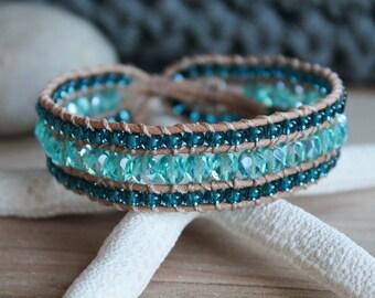 Sea Blue Beaded Wrap Bracelet, 3 Row Cuff, Country Boho, Boho Chic, Leather Jewelry, Button Bracelet, Wrap Bracelet