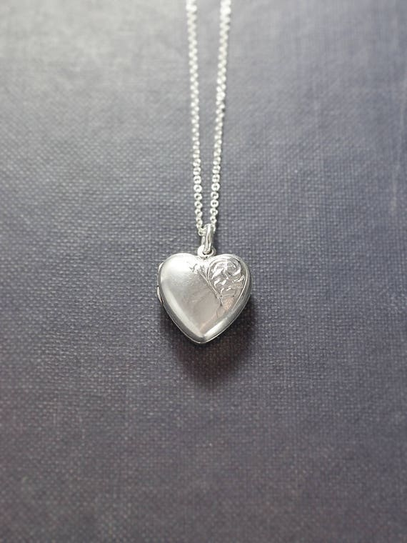 Tiny Silver Heart Locket Necklace, Vintage Sterling Silver Picture Pendant - Sweet Pea