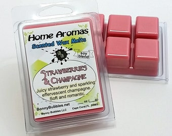 STRAWBERRIES and CHAMPAGNE Wax Melt - 6 breakaway cubes - soy blend - clam shell type