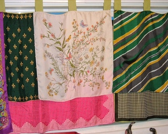 PAIR Scarf Curtains, Scarves Sewn Onto Green Cafe Curtains, Each 35-1/2 x 41 Inches Boho, Gypsy