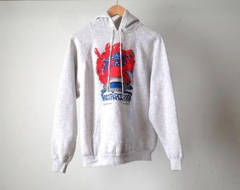 vintage 1991 HOT TUB + CRAB = dinner sweatshirt faded grunge grey hoodie sweatshirt