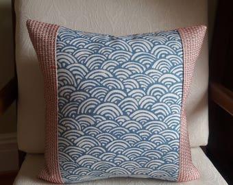 Lulu DK BUNGALOW Light Blue Color Blocked Pillow Cover