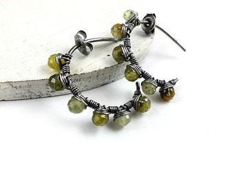 Hoop earring, wire wrapped earring, green earrings