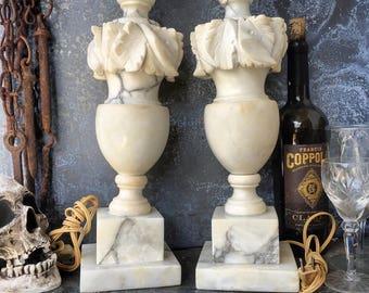 Alabaster Lamps / Hand Carved Italian / Pair / Cottage Lighting / Elegant Lighting