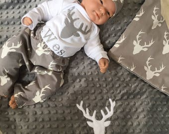 Personalized Baby Boy Coming Home Outfit, Deer Baby Boy Clothes, Minky Baby Gifts, Woodland Baby Boy clothes,  Personalized Baby Boy Outfit