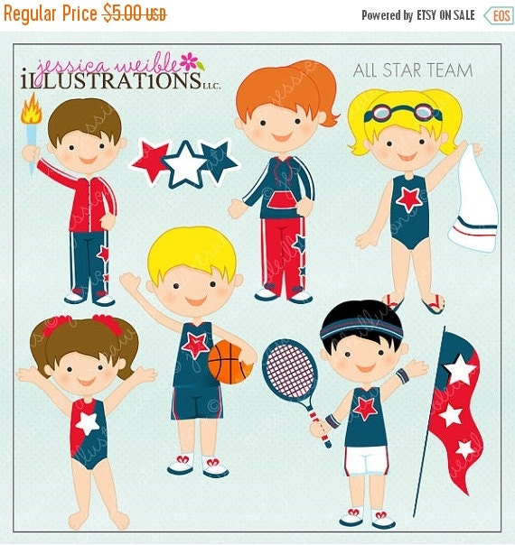 ON SALE All Star Team Cute Digital Clipart for Card Design, Scrapbooking, and Web Design