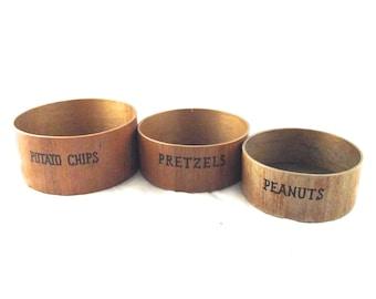 Nesting Wood Snack Bowls, Vintage Set of 3 Labeled Round Bowls (K2)