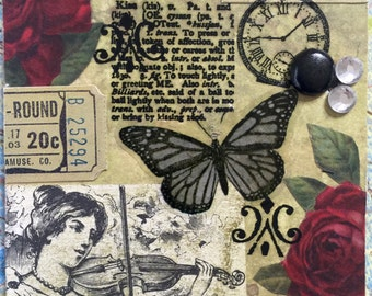 Grateful A Conceptual AcEo  Mixed Media Victorian Cards  ACEO Alteredhead On Etsy Artwork ATC Original Handmade Design On Etsy Artwork