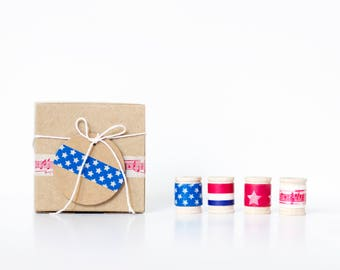 Party Favor DIY Gift Wrap Kit  || Patriotic, July 4th, Independence Day, Red, White & Blue Birthday,  Favor Boxes, Treat Bags, July Wedding