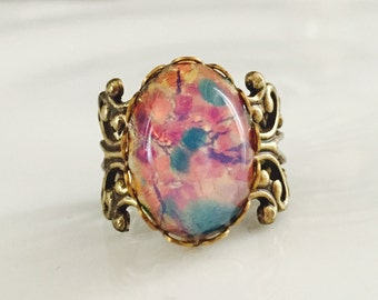 Pink Opal Ring Gold Adjustable Filigree Ring