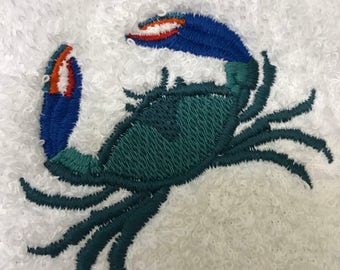 Blue Crab embroidered Hand Towel