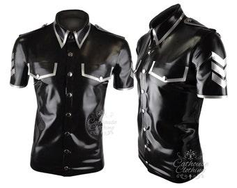 Mens latex rubber military short sleeved shirt WRUB1026