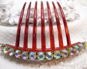 8 mm Aurora Borealis Crystal Rhinestone french hair comb fascinator french twist comb, Special occasion hair updo auburn comb