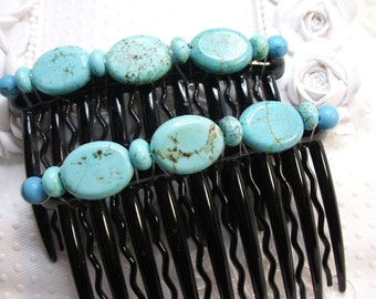 Reconstituted Turquoise Beaded Hair comb Fascinator pair hand made