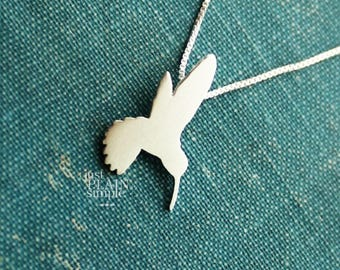 Tiny Hummingbird necklace, sterling silver bird pendant, hand made animal and nature jewelry,