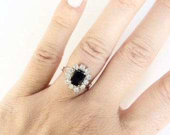 Delicate Black glass and rhinestone elegant cocktail ring silver tone vintage cocktail ring  handmade adjustable size