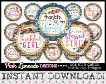 "Thankful Girl - INSTANT DOWNLOAD 1"" Bottle Cap Images 4x6 - 976"