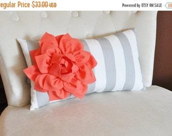 SALE Pillows -  Decorative Pillow - Stripe Lumbar Pillow Coral Dahlia on Gray and White Striped Lumbar Pillow 9 x 16