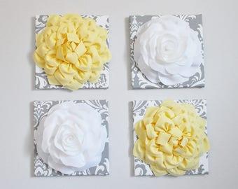 Wall Flower Decor Fiber Art 3D Flower Art 12X12 Canvas Yellow Flower On Gray and White Damask Wall Art Set of Four Nursery Wall Room Decor