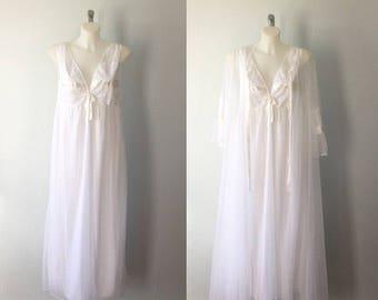 Vintage Peignoir, Vintage Peignoir Sets, 1970s Peignoir, White Peignoir, Chiffon Peignoir Set, Wedding, Bridal, Romantic