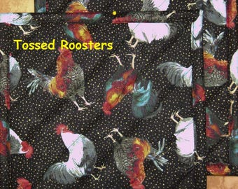 """Pick a Print-Set of 2 (8"""") Chickens-Quilted-Insulated-Handmade Hot Pads/Pot Holders-Made in USA by MJ Quilts"""