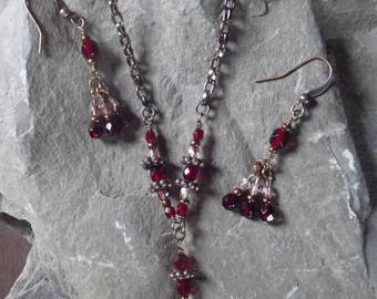 Mystic Red and Pink Copper Chain and Wire Link Necklace and Earring set, Red and Pink Link Necklace and Earrings Set, Copper Chain Set