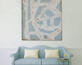 XL CANVAS 48x60 Abstract Painting blue/white by Erin Ashley