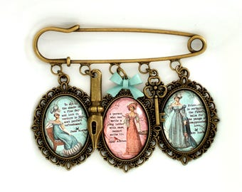 Jane Austen Brooch- Literary Gift For her- Pride & Prejudice Jewellery- Literary Quote Jewellery- Mansfield Park Quote Gift-Book Lover Gift