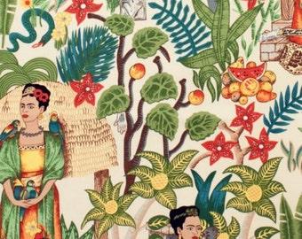 Frida Kahlo's Garden Heavy Oxford- Tea - Alexander Henry Scenes 1 Yard Fabric