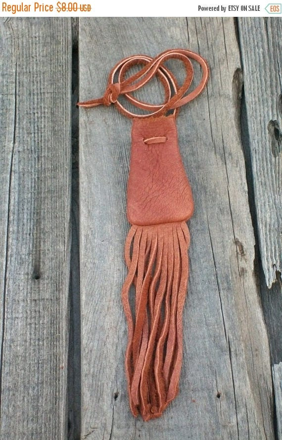 ON SALE Fringed leather neck bag, Leather amulet bag, Crystal bag, Drawstring necklace bag, Buckskin leather neck pouch, Fringed medicine ba
