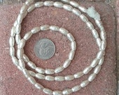 African Silver Metal Beads: (6x11mm)