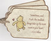 Custom Listing For Sandra - 50 Winnie The Pooh Baby Shower Favor Tags - Vintage Style