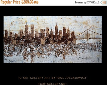 """17% OFF /ONE WEEK Only/ City scape New York City Scape Knife Abstract by Paul Juszkiewicz 48""""x24"""" brown cognac Twin Towers"""