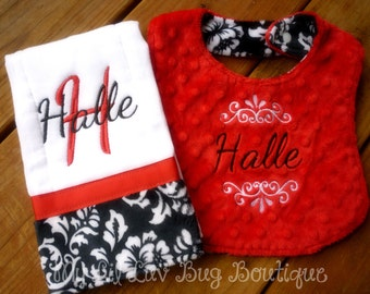 personalized burp cloth and bib set- red and black damask bib and prefold burp cloth- baby gift set