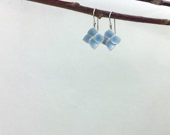 Blue hydrangea earrings - silver