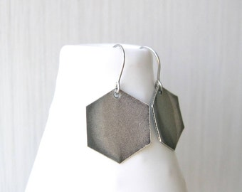 Silver Geometric Drop Earrings, Contemporary Jewelry, Modern, Nickel Free Titanium, Hexagon, Simple, Metal, Dangle, Satin, Matte