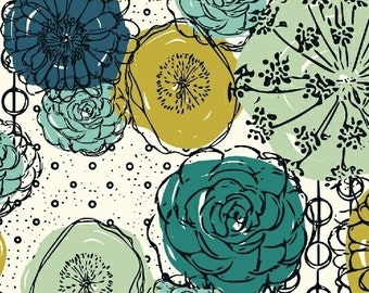 Hand Maker from Windham Fabrics - Full or Half Yard Modern Teal, Mint, Chartreuse Flowers on Natural - Natalie Barnes Beyond the Reef