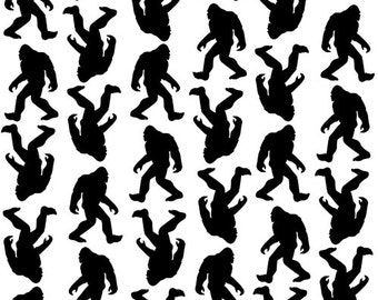 Domino from Andover Fabrics - Full or Half Yard Big Foot Sasquatch Fabric in Black and White