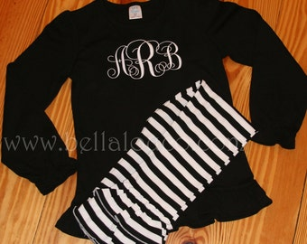 Puff Sleeve Shirt and Ruffle Pant Set - FREE Personalization