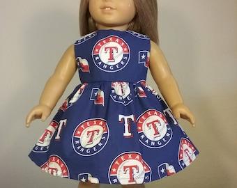 18 inch Doll Clothes Handmade Texas Rangers Baseball Print Dress fits dolls like American Girl Doll Clothes