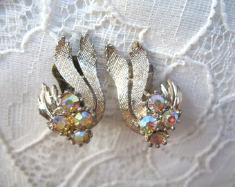 Vintage Rhinestone Earrings ~ Clip On ~ Pastel Ab Rhinestones
