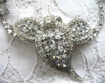 Vintage Rhinestone Necklace ~ Wedding ~ Bridal