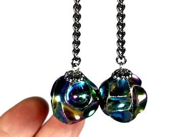 Handmade Black Dangle Earrings, Vintage Bead Dangle Earrings, Retro  Earrings, Ball Dangle, Rockabilly Fashion