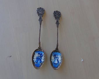 Blue Pair of Czechoslovakian spoons - Boy and girl in blue  Silver Plated
