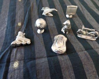7 Special unique Monopoly figures  silvertone